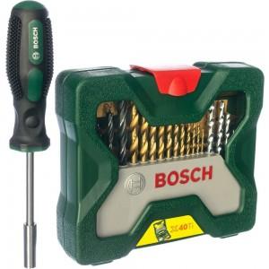 Набор Titanium X-Line-40 из 40 предметов и отвертки Bosch 2607017334