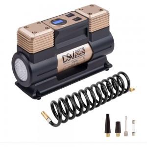 Двухцилиндровый компрессор DSV Smart, с LED фонарем 75 л/мин 12В, цифр. маном, 226000