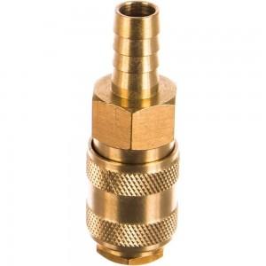 Быстроразъем пневматический с клапаном - елочка 10 мм, латунь ЭВРИКА ER-BSE1-4SH