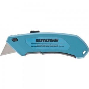 Нож 130 мм, алюминиевый корпус, выдвижное трапецевидное лезвие 18 мм GROSS 78899