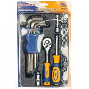 Набор торцевых головок и принадлежностей 1/4 Dr 28 предметов с имбусными ключами KRAFT KT 700321