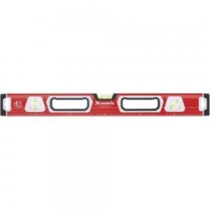 Алюминиевый магнитный фрезерованный уровень MATRIX 3 глазка, двухкомпонентные рукоятки, 1000 мм 34733