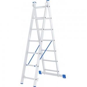 Алюминиевая двухсекционная лестница СИБРТЕХ 2х7 ступеней 97907