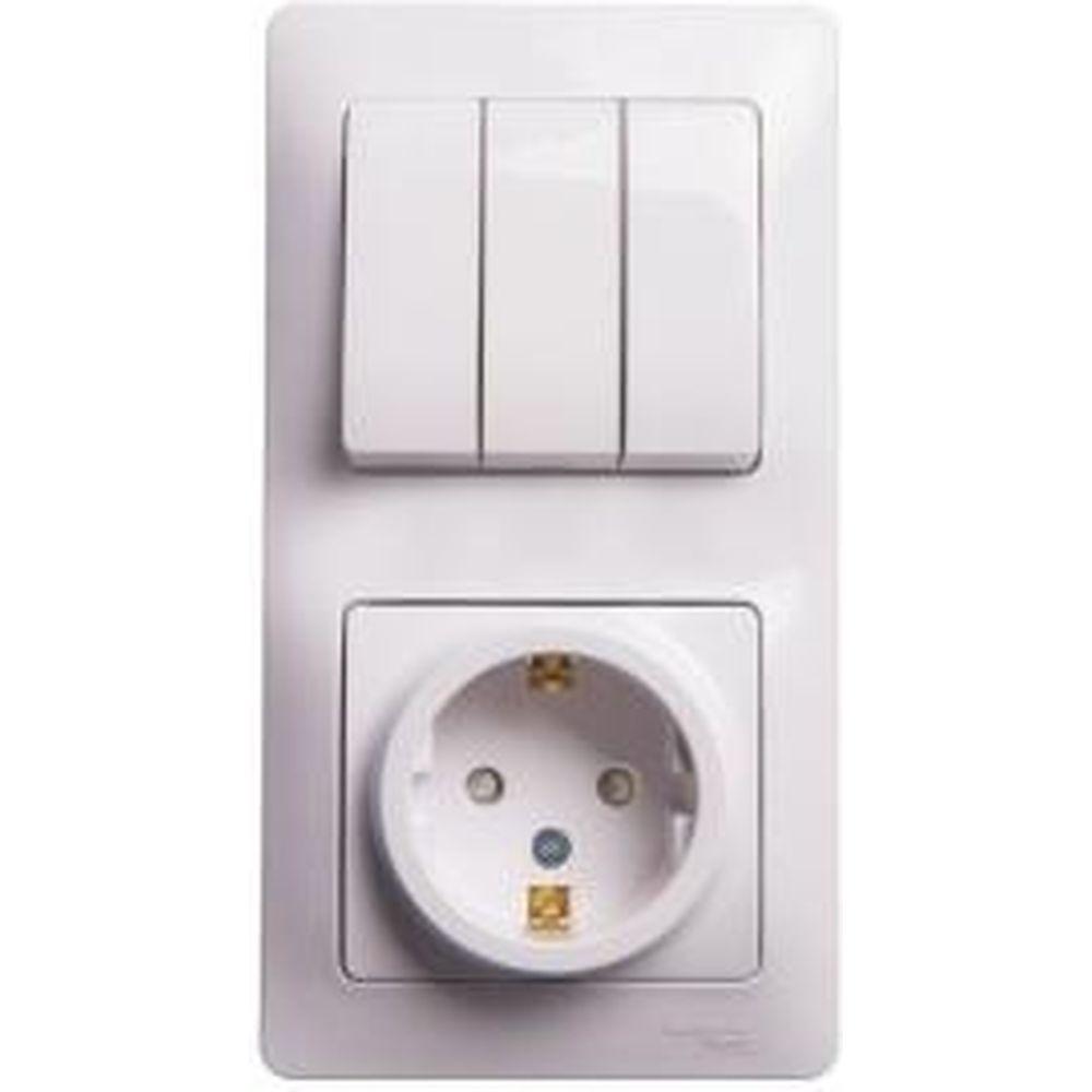 Блок розетка с заземлением со шторками + 3-клавишный выключатель Schneider Electric GLOSSA БЕЛЫЙ GSL000178