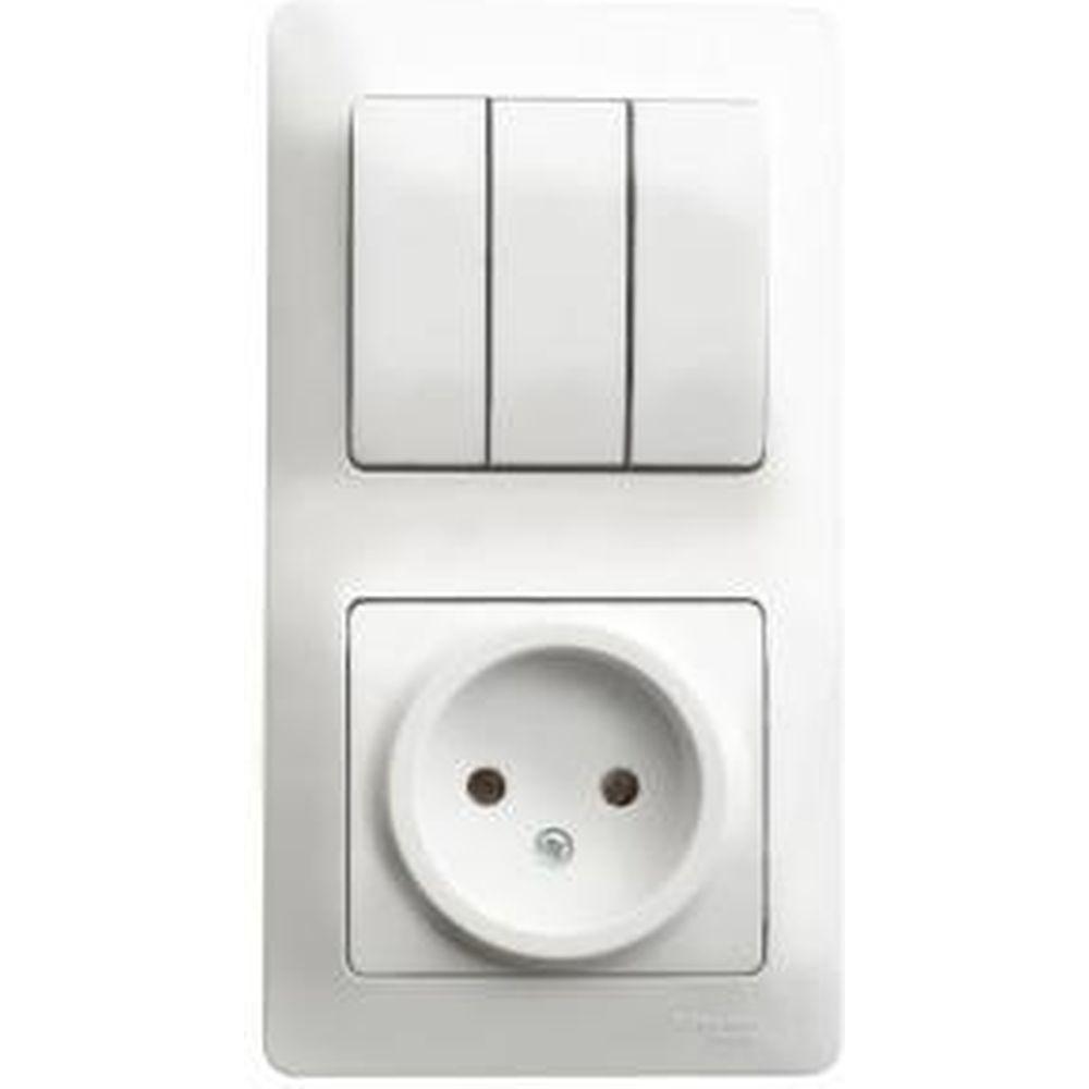 Блок розетка + 3-клавишный выключатель Schneider Electric GLOSSA БЕЛЫЙ GSL000176
