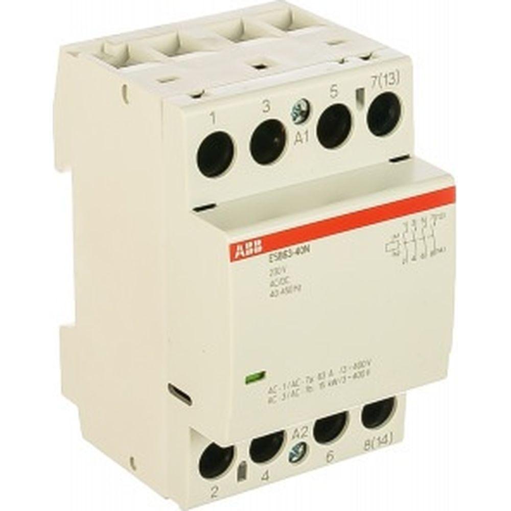 Контактор ABB ESB63-40N-06 модульный 63А АС-1, 4НО, катушка 230В AC/DC 1SAE351111R0640