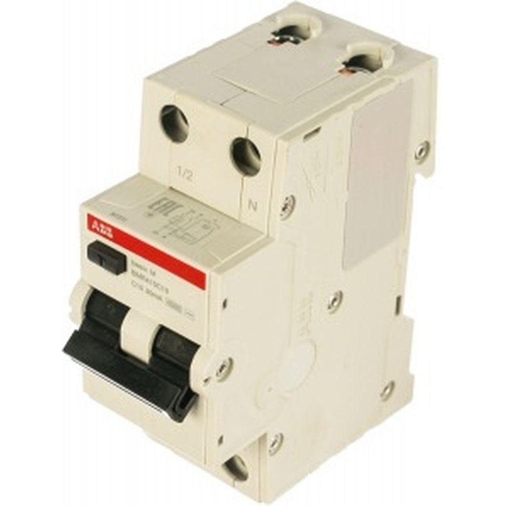 Автоматический выключатель дифференциального тока ABB Basic M АВДТ,1P+N,10А,C,30мA, AC, BMR415C10 2CSR645041R1104