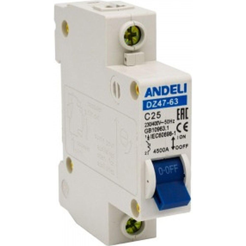 Автоматический выключатель ANDELI DZ47-63/1P 25A 4.5kA х-ка C ADL01-066