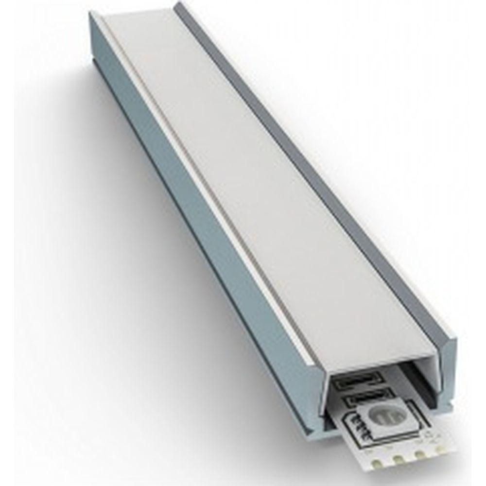 Алюминиевый прямой профиль Apeyron накладной для светодиодной ленты, серебро, 1м 3011 08-05