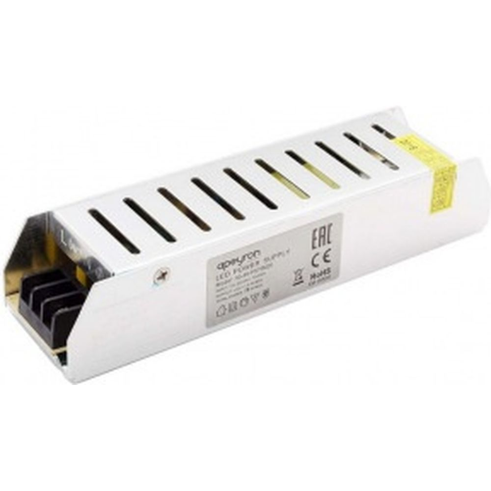 Блок питания Apeyron слим-метал 12В, 75 Вт, IP20, 6,5 А, 160х40х30мм 03-48