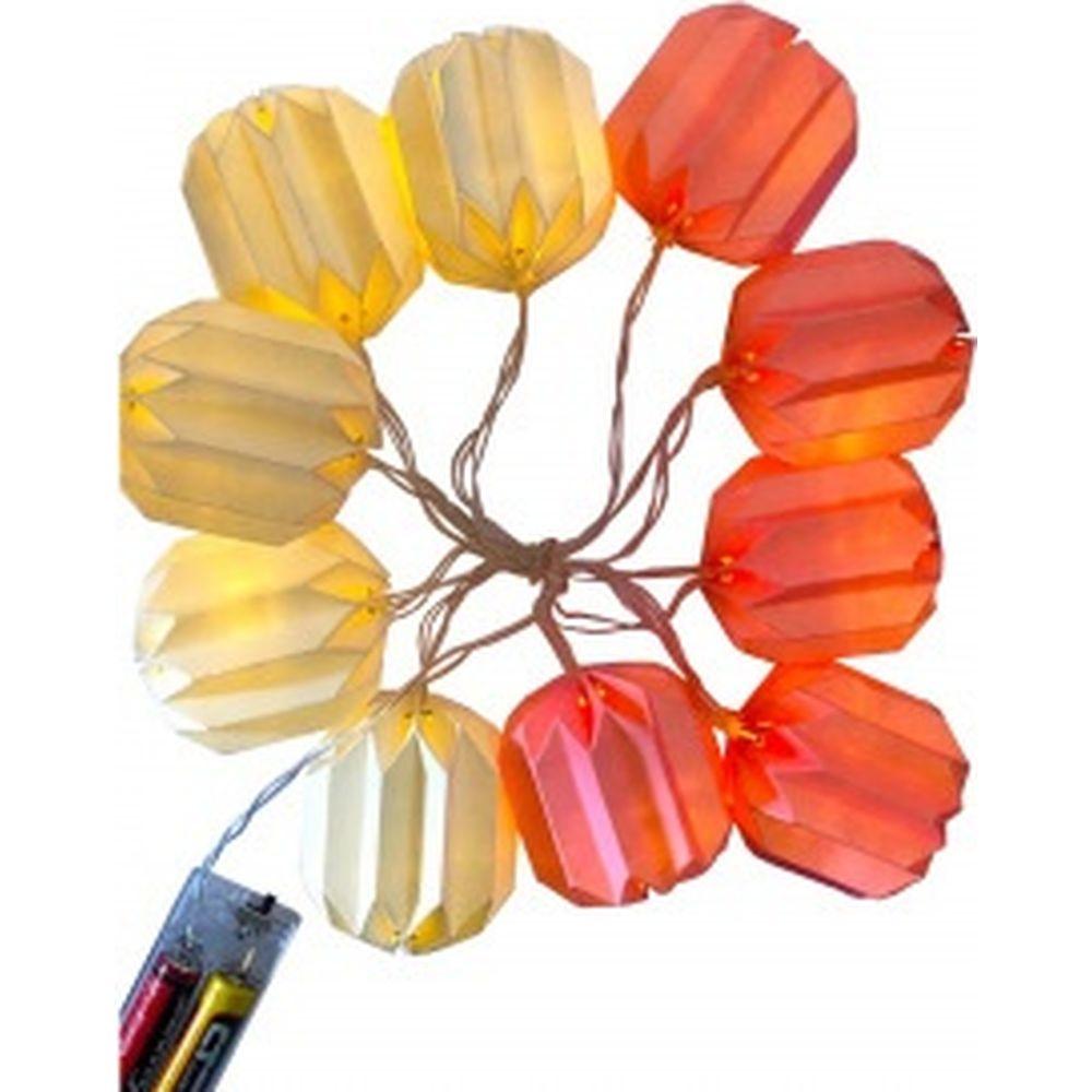 Электрическая гирлянда APEYRON светодиодная, цветной бумажный фонарик 15-20
