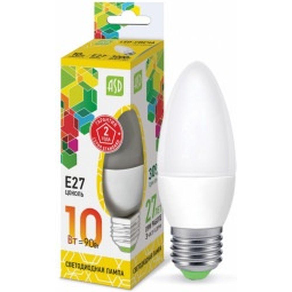 ASD Лампа сд LED-СВЕЧА-std 10Вт 230В Е27 3000К 900Лм 4690612015538