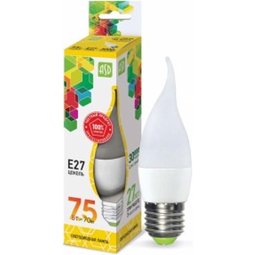 ASD Лампа сд LED-СВЕЧА НА ВЕТРУ-std 7.5Вт 230В Е27 3000К 675Лм 4690612004570