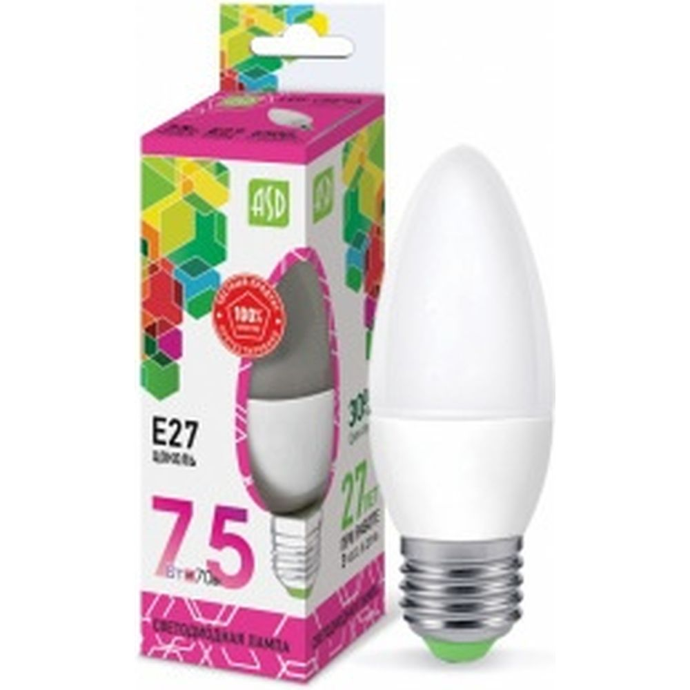 ASD Лампа сд LED-СВЕЧА-std 7.5Вт 230В Е27 6500К 675Лм 4690612019055