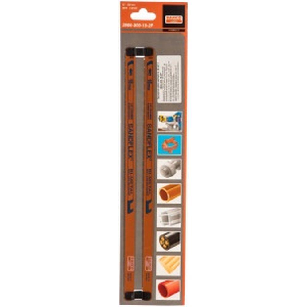 Биметаллическое полотно SANDFLEX (2 шт; 300x13x0.65 мм; 18 зуб/дюйм) для ручных ножовок BAHCO 3906-300-18-2P