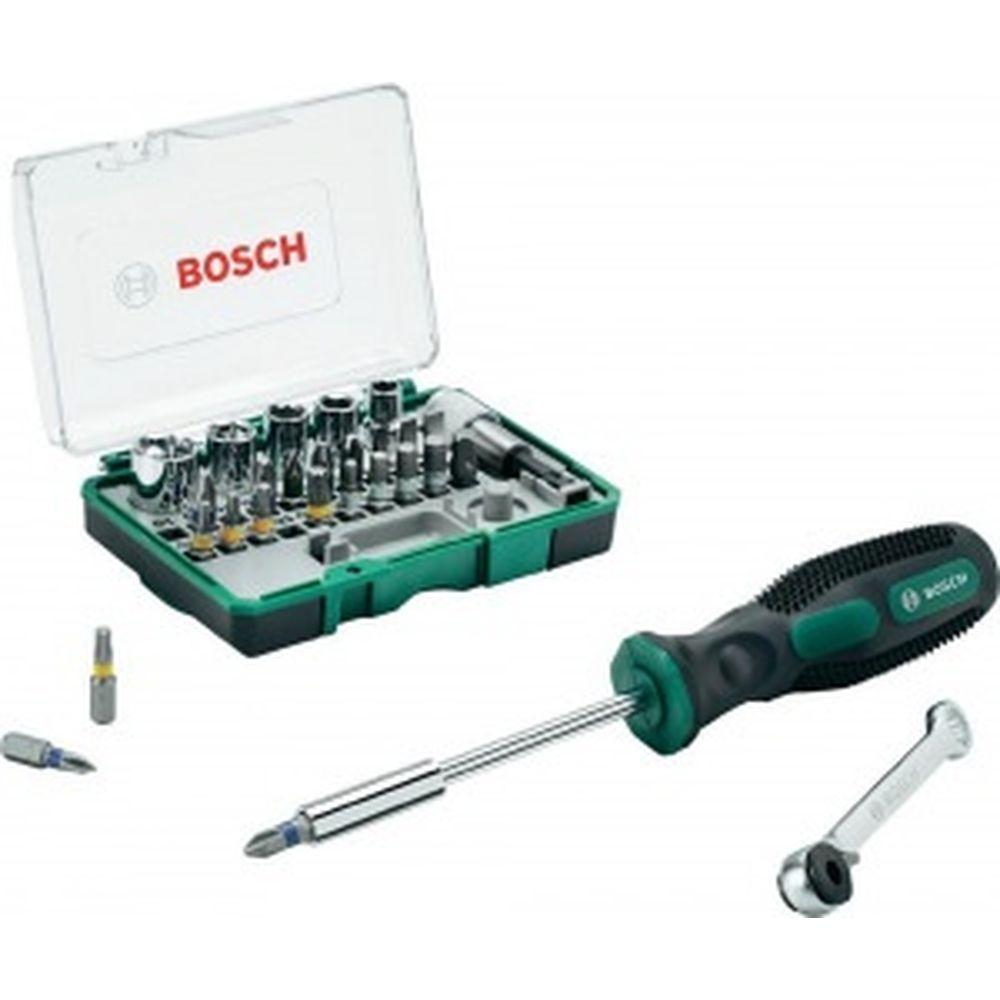 Мини-набор насадок-бит с ключом-трещоткой и ручной отверткой Bosch 2607017331
