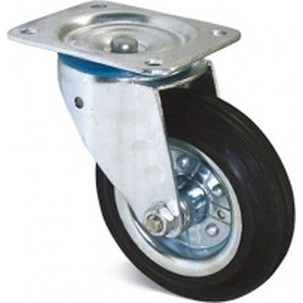 Поворотное колесо на площадке Brante 125 мм черная резина 104204