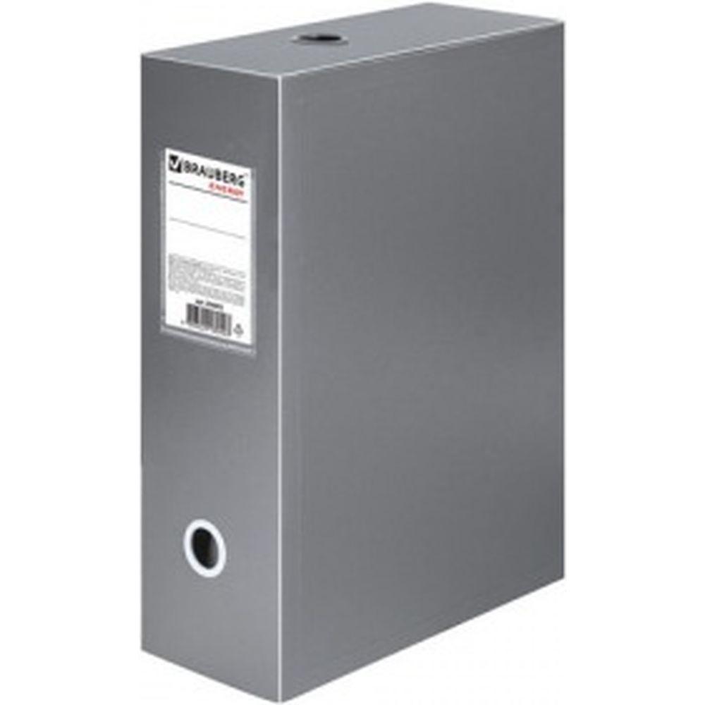 Архивный короб Energy, пластик, 10 см, разборный, серый, 0,9 мм, BRAUBERG 236855