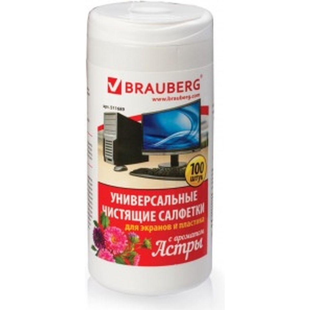 Универсальные чистящие салфетки для экранов и пластика BRAUBERG Астра 511689