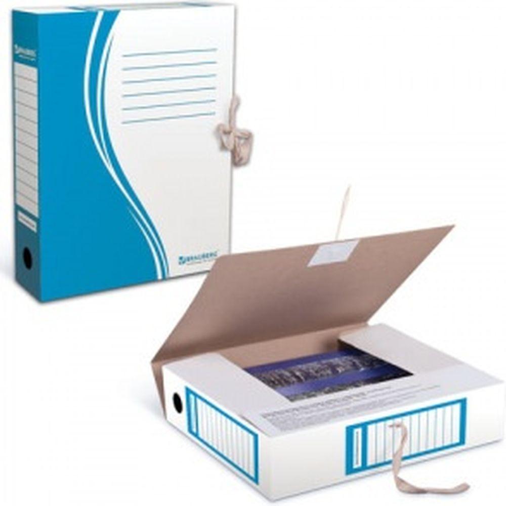 Архивная папка с завязками, 75 мм, до 700 листов, плотная, синяя, 124853
