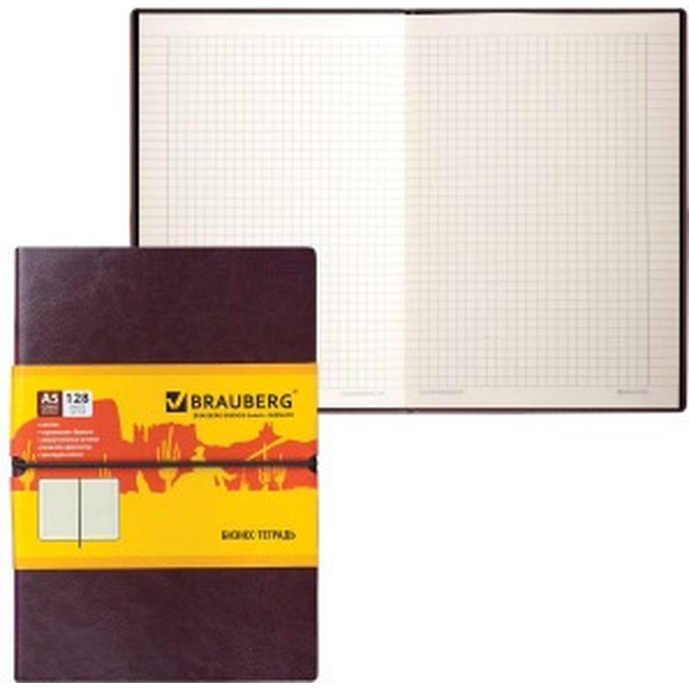 Блокнот BRAUBERG Western А5 148х218 мм, 128 л, гладкий кожзам, резинка, клетка, коричневый, 125238