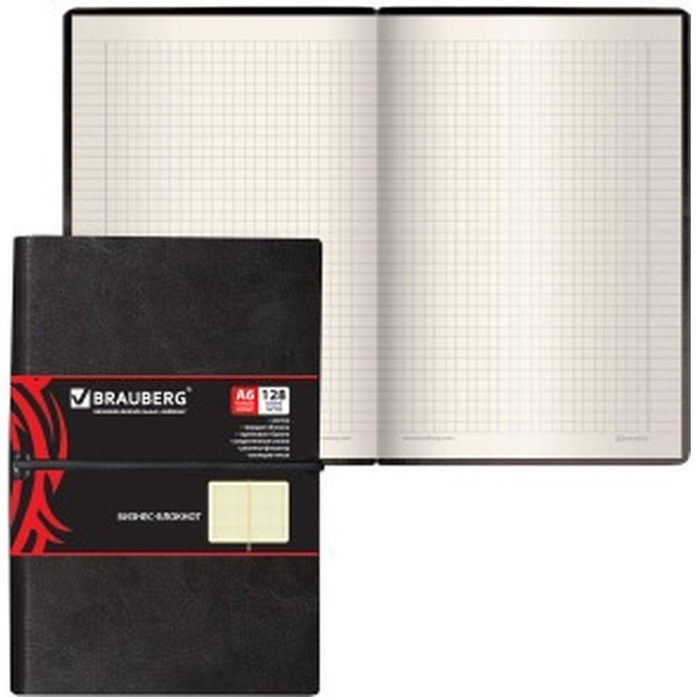 Блокнот BRAUBERG Black Jack малый формат, 100x150 мм, А6, 128 л, гладкий кожзам, резинка, клетка 125243