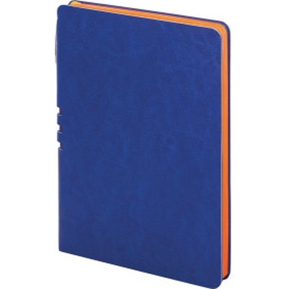 Блокнот BRAUBERG NEBRASKA А5 140x200 мм, 112 л, гибкий кожзам, ручка, линия, синий, 110948