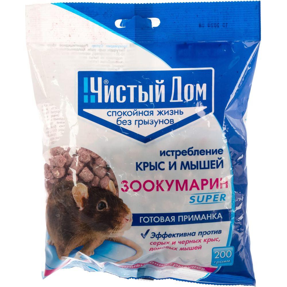 Гранулы от крыс и мышей Чистый дом Зоокумарин супер, 200г 03-763