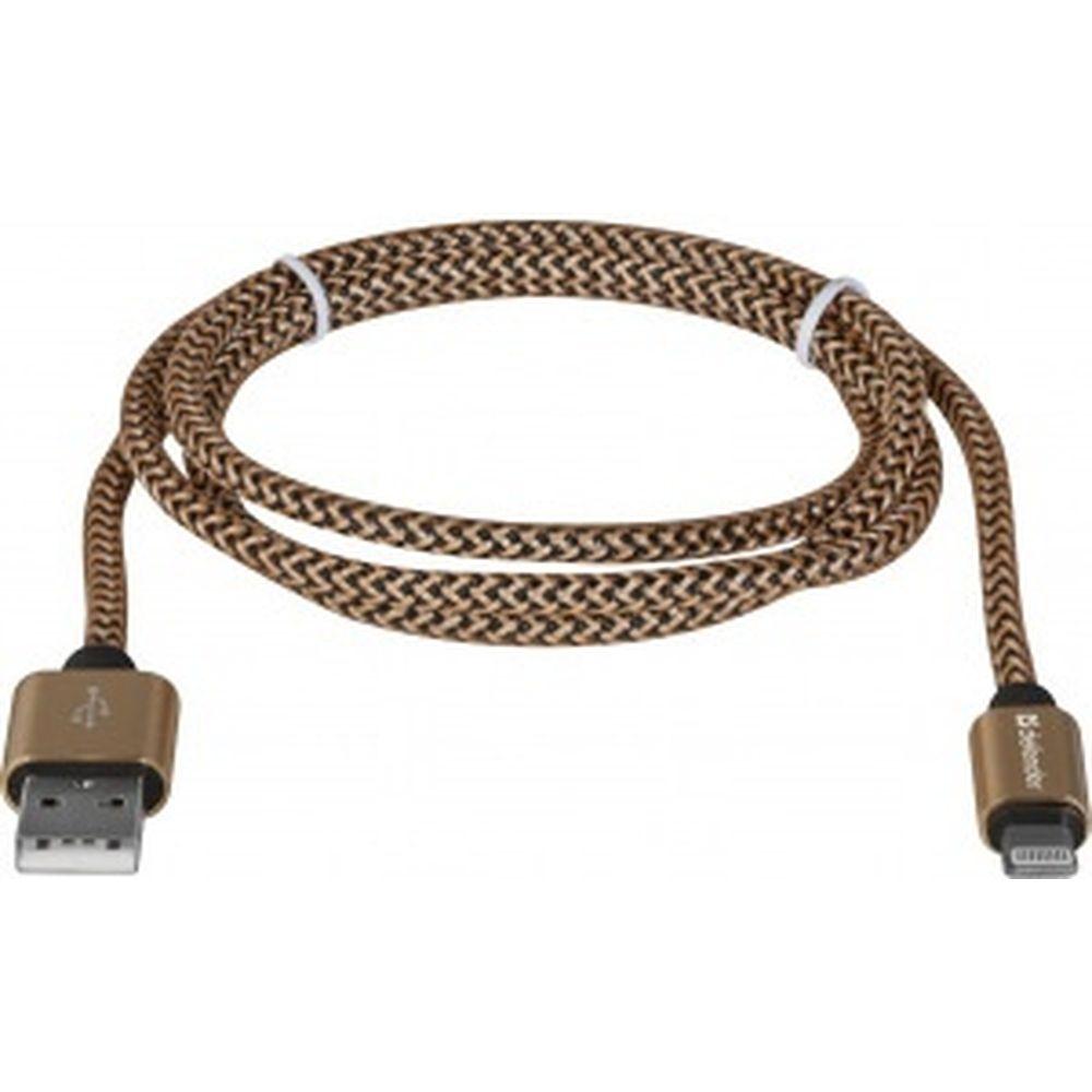 USB кабель Defender ACH01-03T PRO USB2.0 Золотой, AM-LightningM,1m,2.1А 87806
