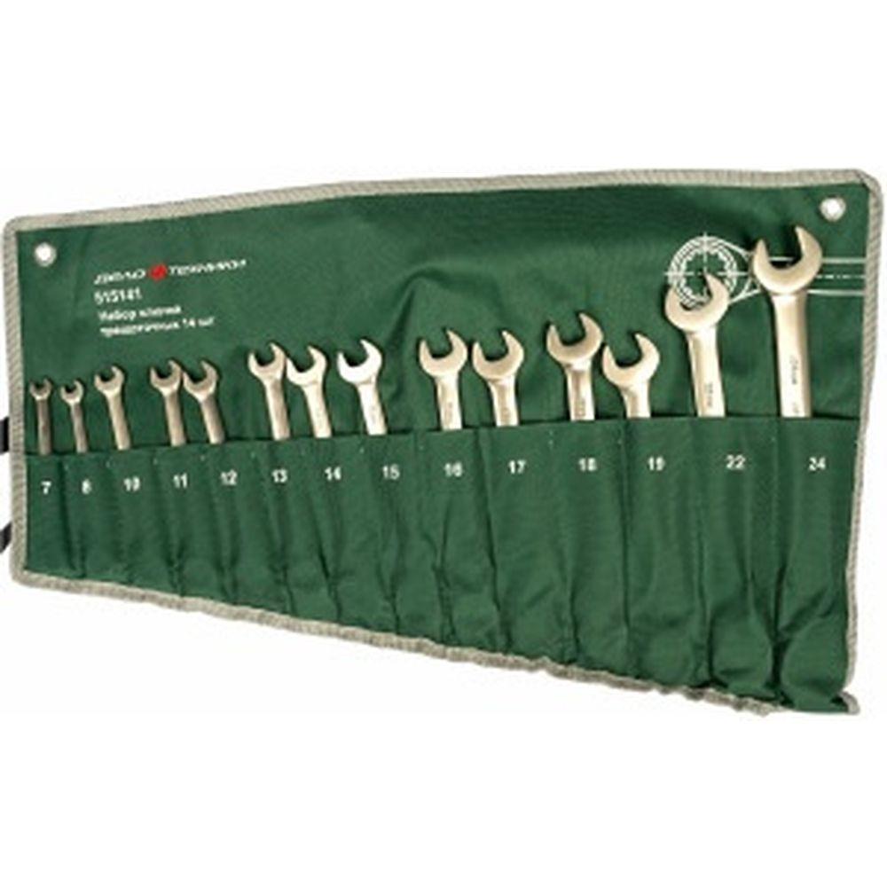 Набор комбинированных ключей с трещоткой 14 шт в тетроновой сумке ДТ/8 Дело Техники 515141