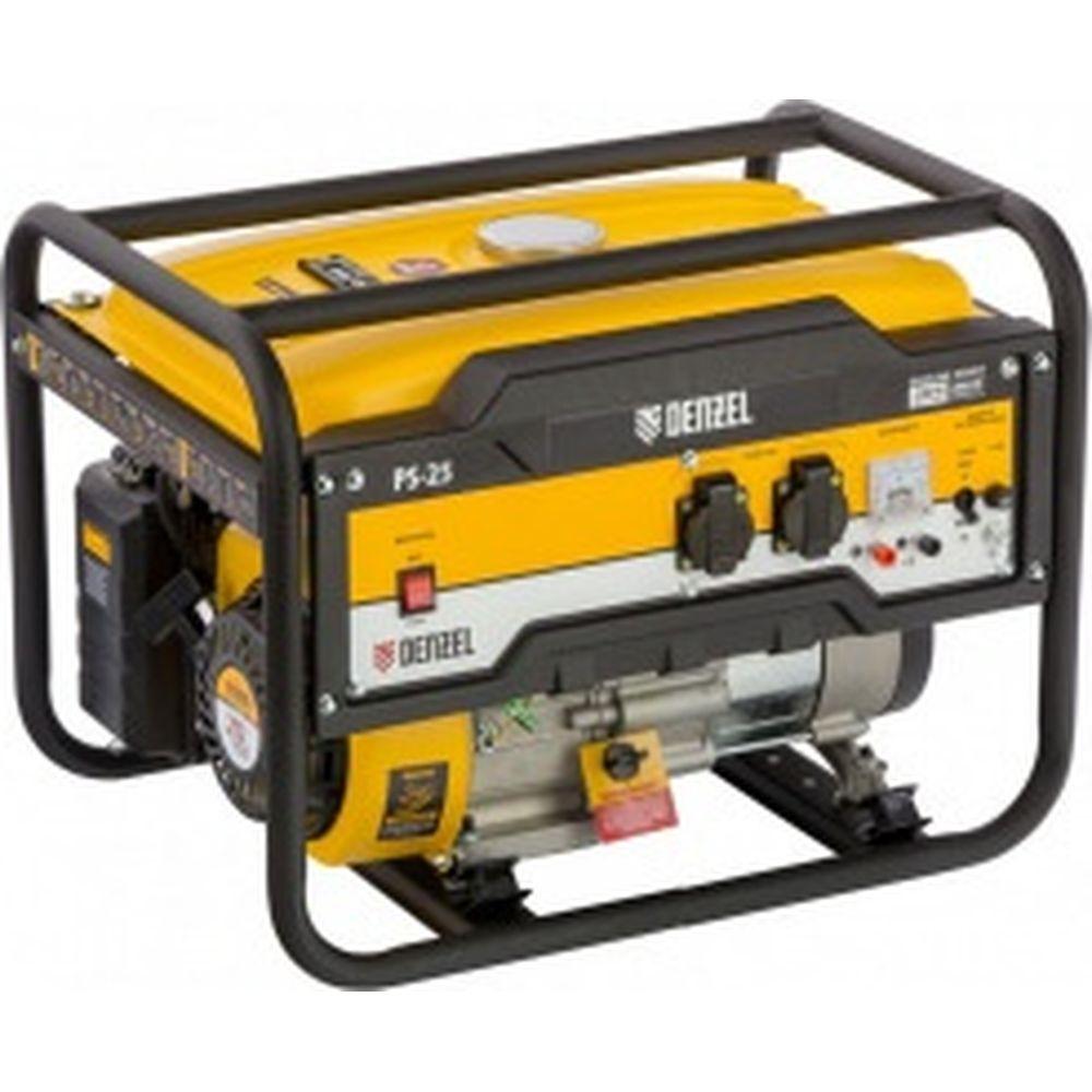 Бензиновый генератор DENZEL PS 25, 2,5 кВт, 230В, 15л, ручной стартер 946814