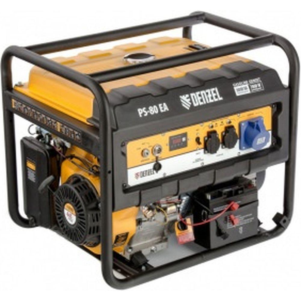 Бензиновый генератор DENZEL PS 80 EA, 8,0 кВт, 230В, 25л 946924