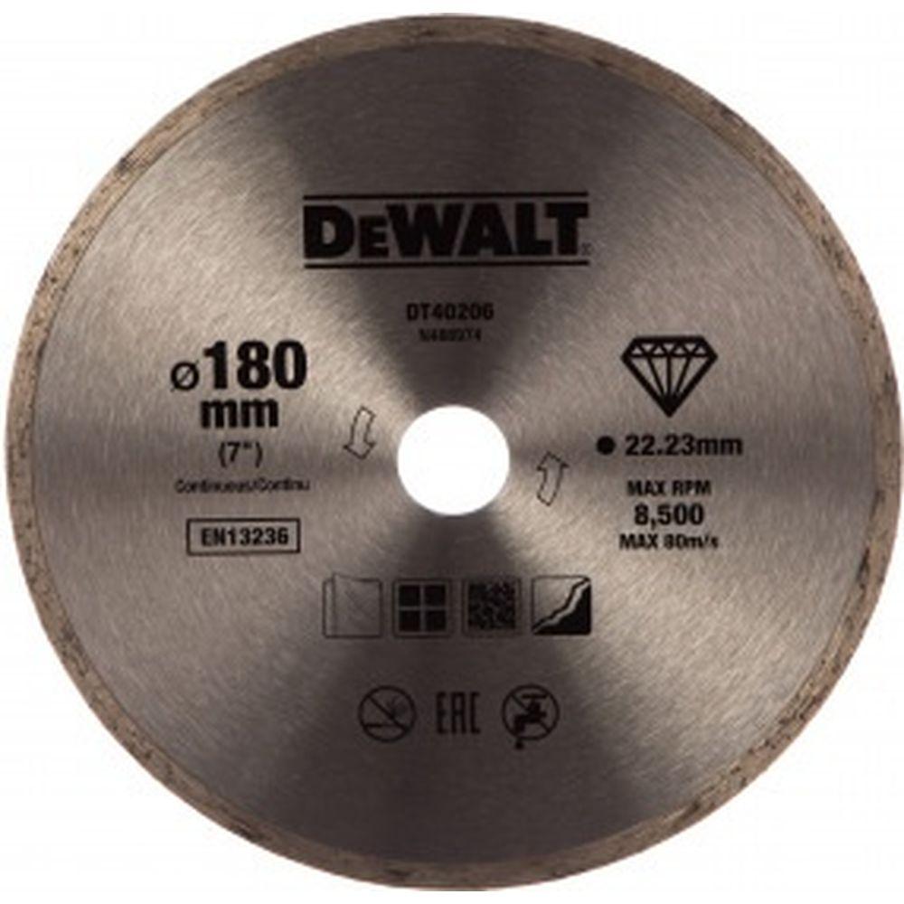 Алмазный круг сплошной по керамике 180х22.2 мм DEWALT DT40206