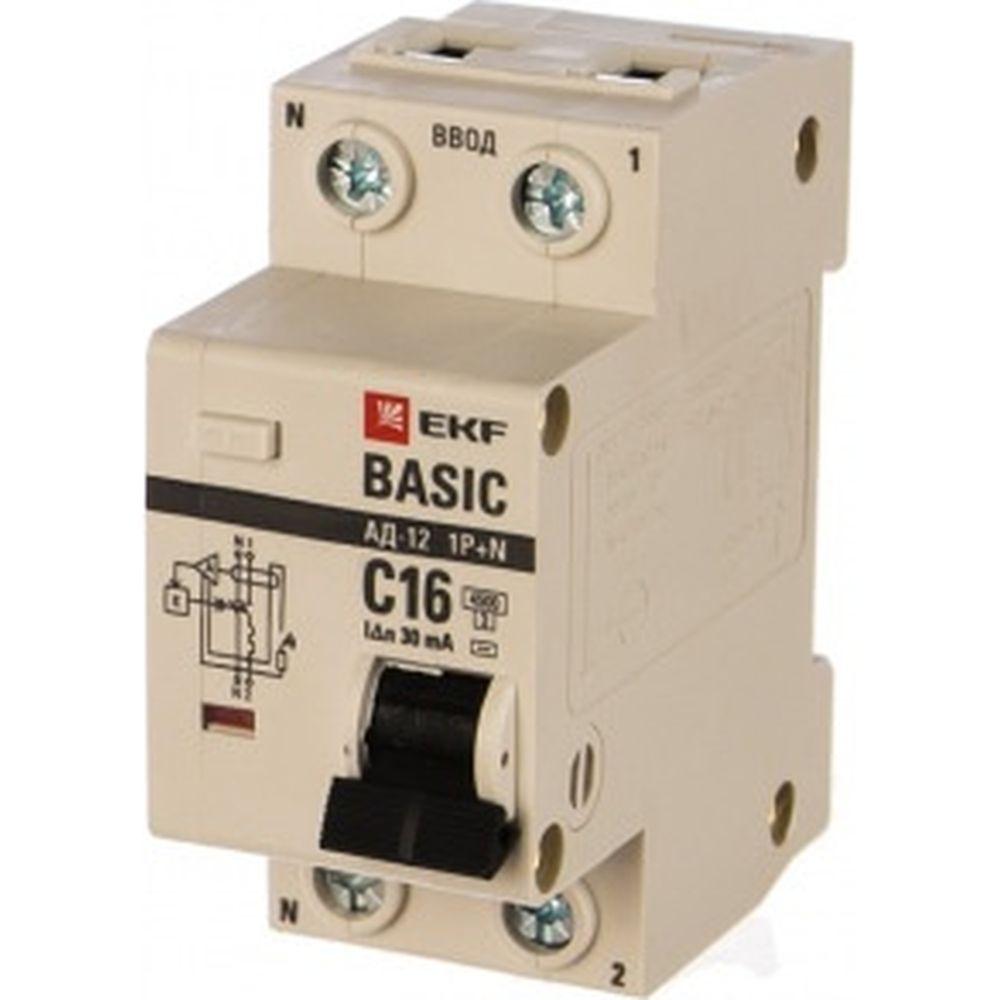 Автоматический дифференциальный выключатель EKF АД-12 1P+N 16А 30мА тип АС х-ка C эл. 4,5кА DA12-16-30-bas 4711190