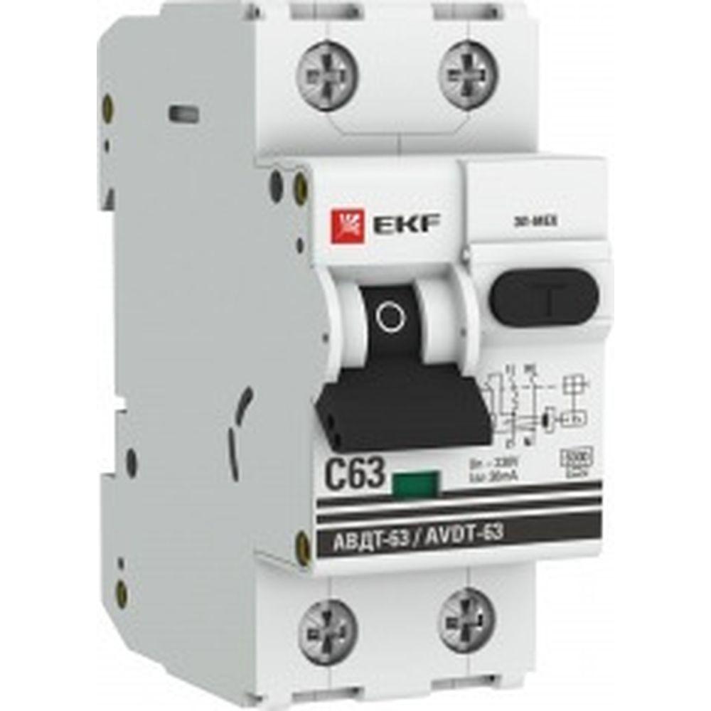 Автоматический дифференциальный выключатель EKF АВДТ-63 63А/30мА C электронный A 6кА DA63-63-30e