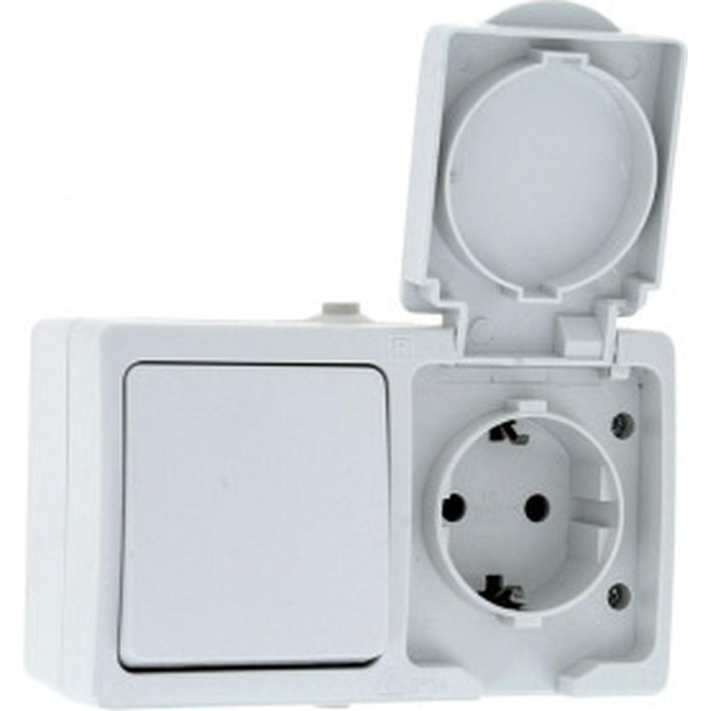 Блок EKF розетка-выключатель 1-кл. 16А с/з с крышкой IP44 белая Прага PROxima SQEKRV16-050-10-440