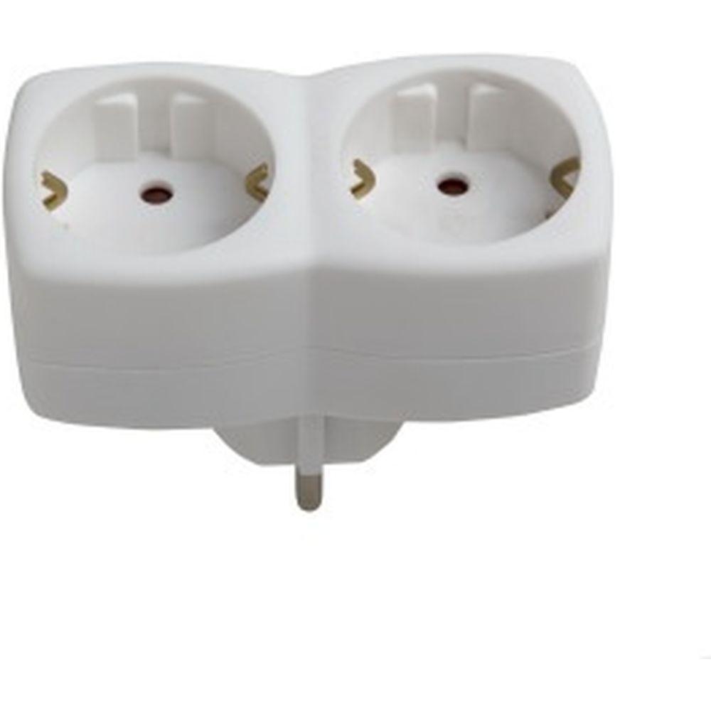 Адаптер, два гнезда, с заземлением, белый Electraline 55072