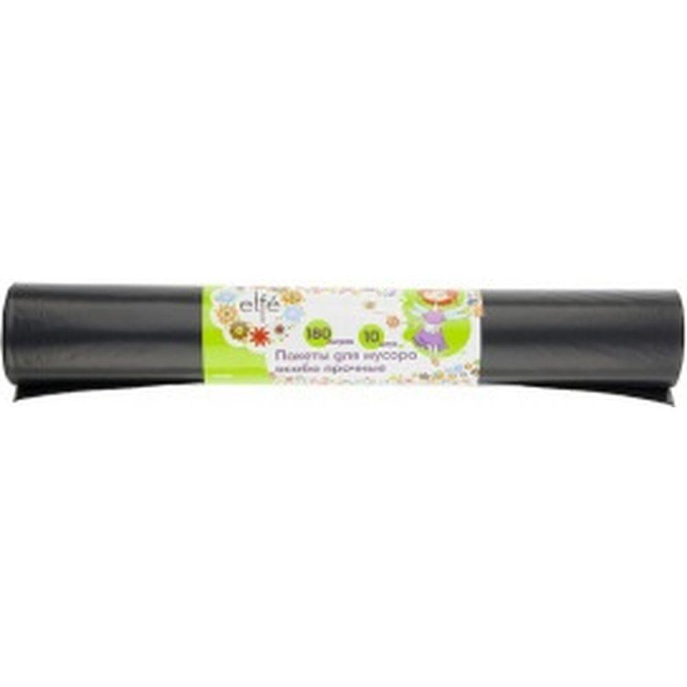 Пакеты для мусора особопрочные (180 л, 10 шт., черные, длинный ролик) Elfe 92728