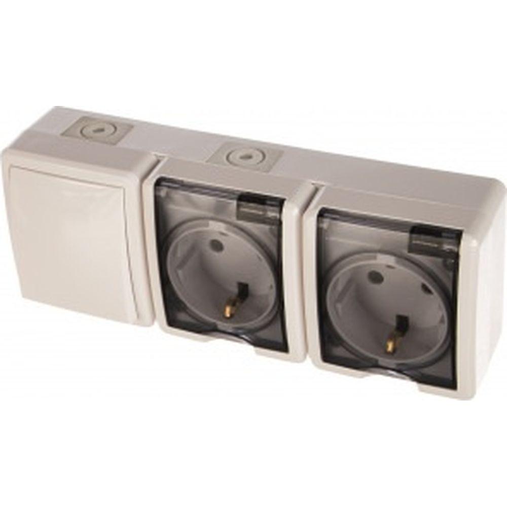 Блок: две розетки+выключатель ЭРА Эксперт 11-7403-01 IP54, 16АХ10AX-250В, ОУ, белый Б0027673