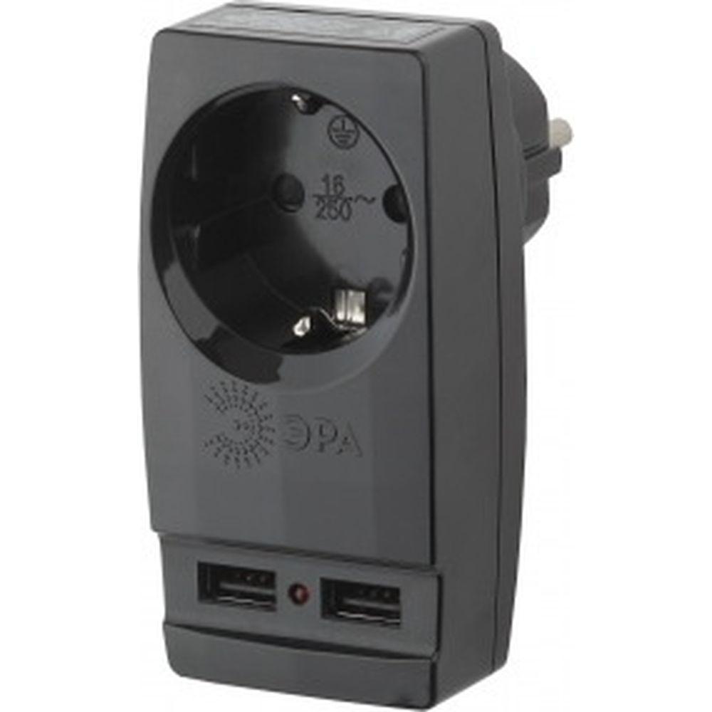 Адаптер ЭРА SP-1e-USB-B Polynom 1гн 220V + 2xUSB 2100mA, c заземлением, черный Б0026333