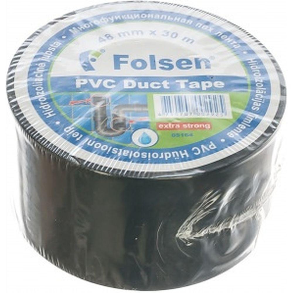 Гидроизоляционная PVC лента Folsen 48ммх30м чёрная 05164