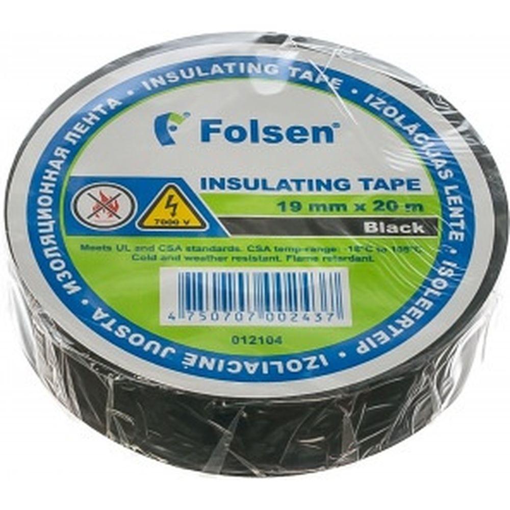 Изоляционная лента Folsen 19ммx20м черная Premium от -18oC до +105oC 012104