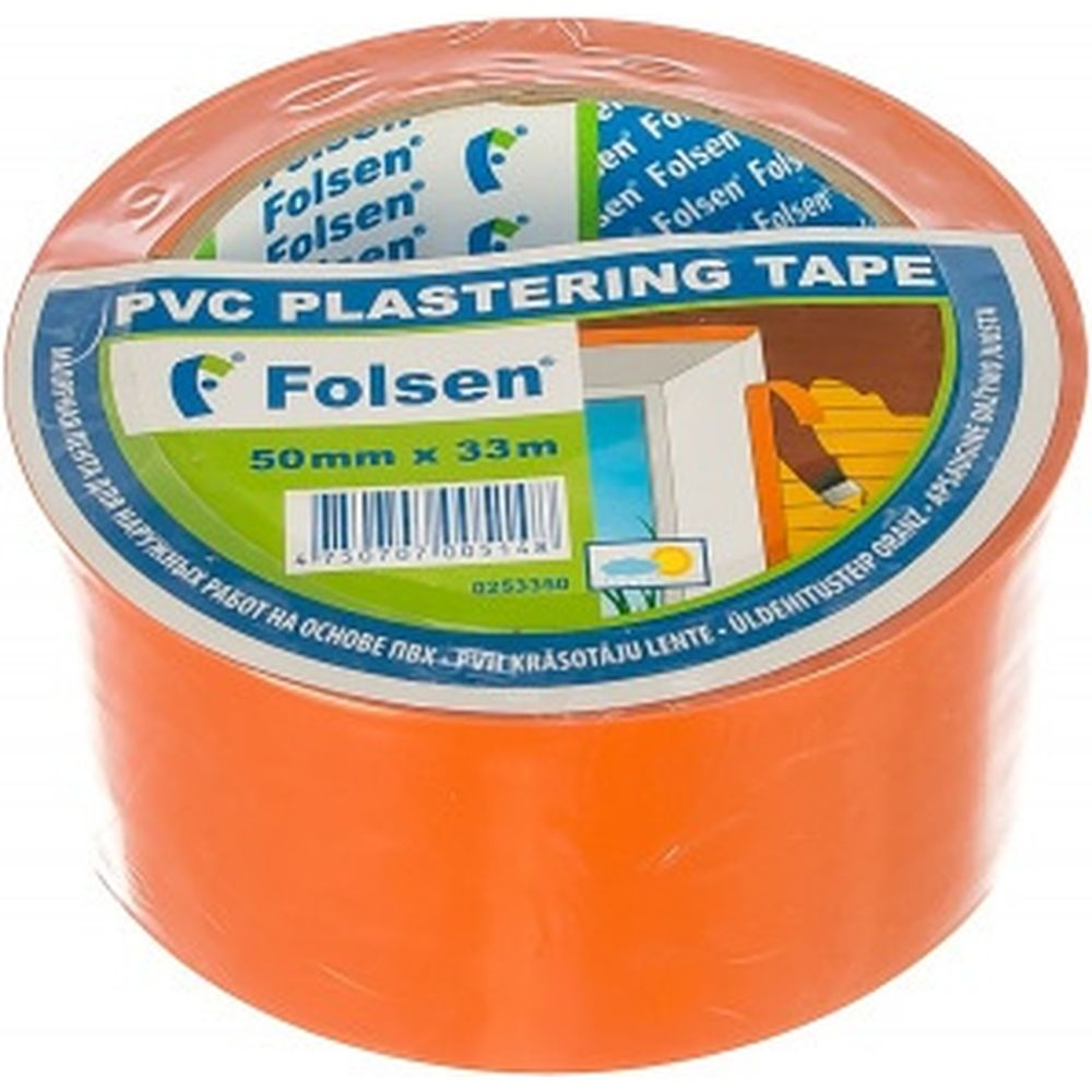 Cтроительная лента PVC Folsen оранжевая, 50мм x 33м 0253350