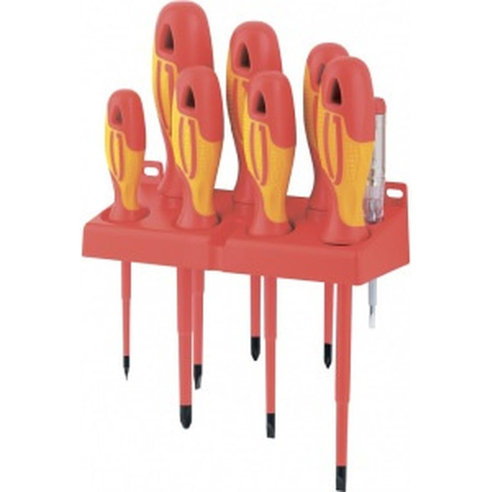 Набор диэлектрических отверток до 1000В, тестер, CrMo, 8шт GROSS 12950
