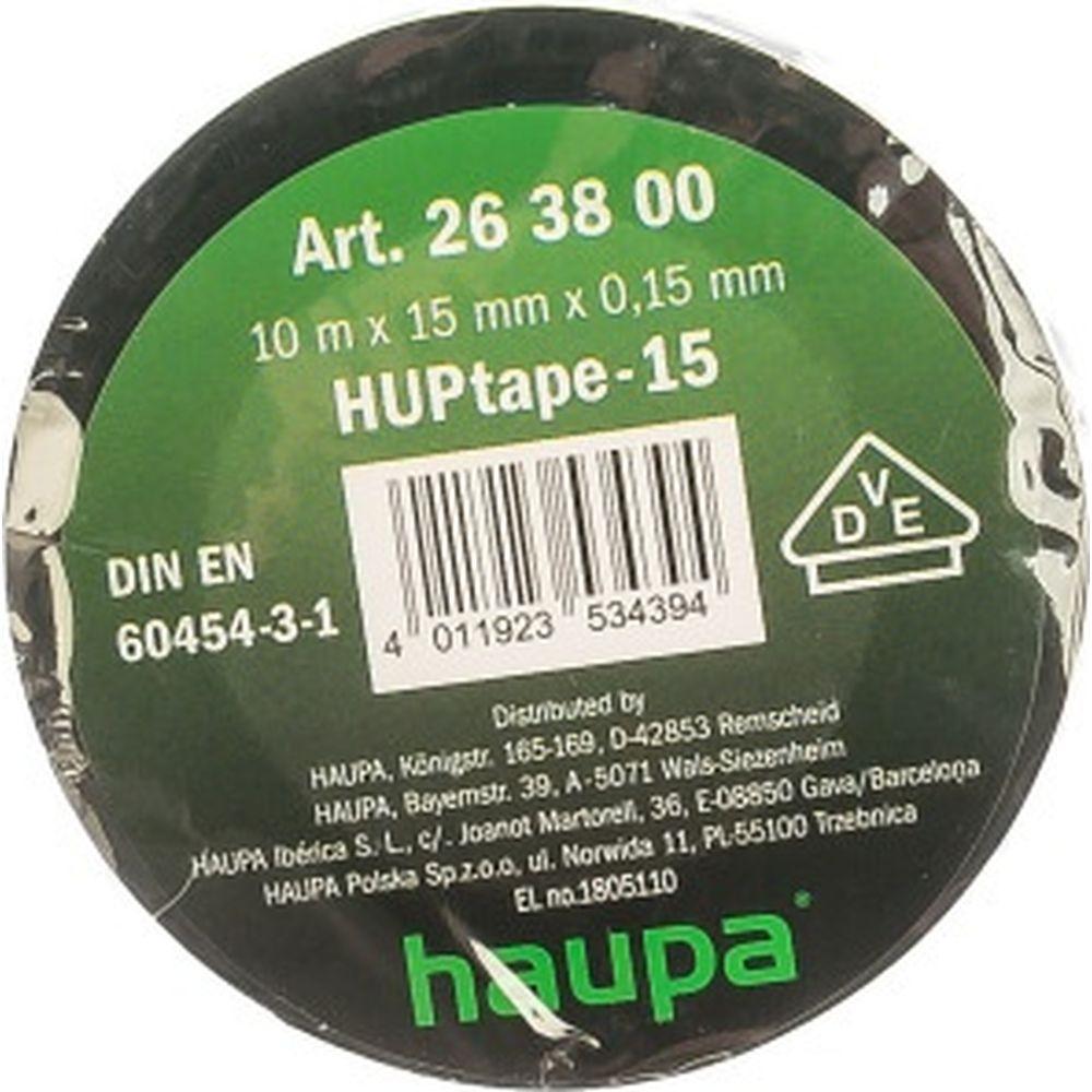Изолента HAUPA ПВХ чёрный 15ммх10 м, d 60 мм 263800