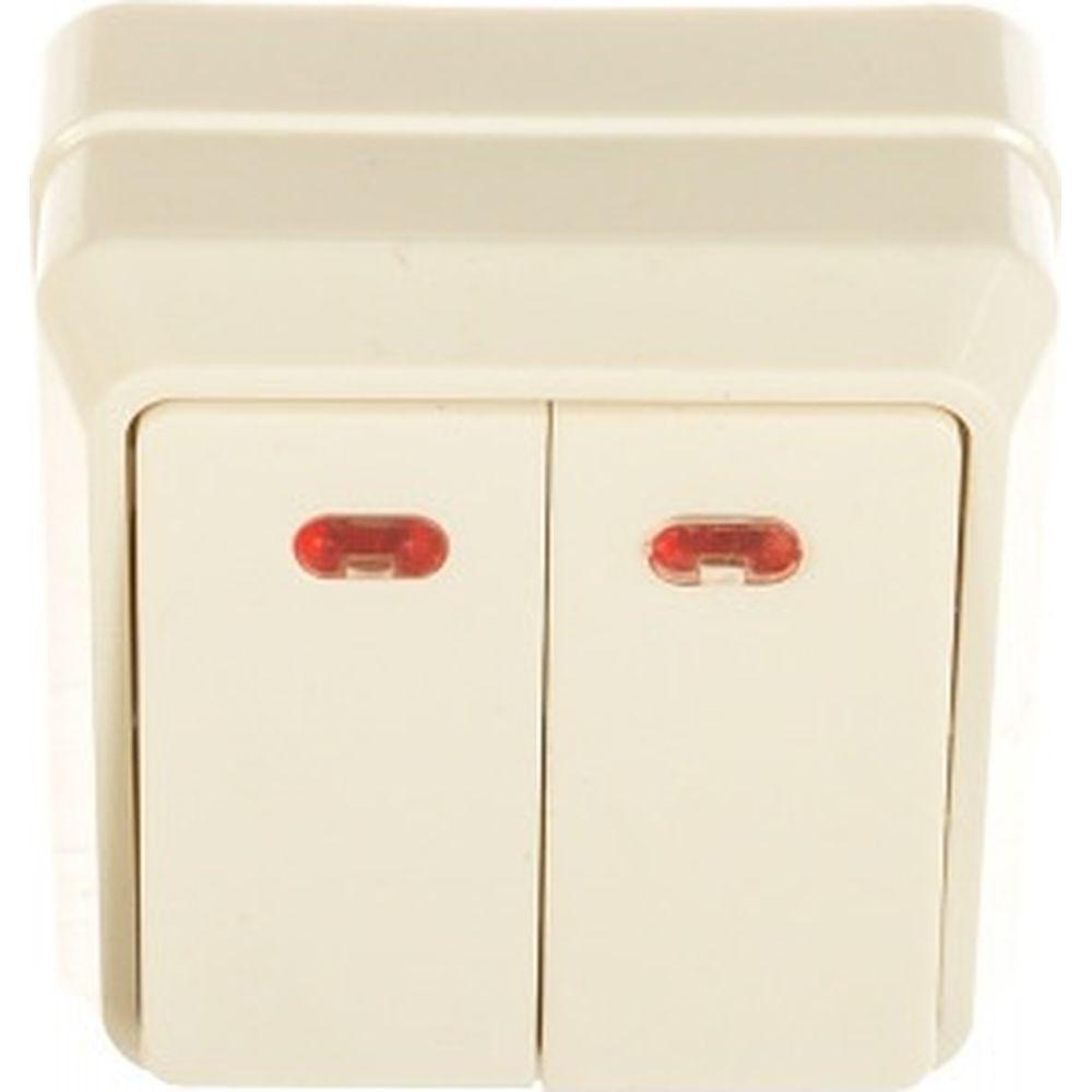 2-клавишный выключатель IEK ОКТАВА наружный монтаж, белый, с индикацией EVO21-K01-10-DC