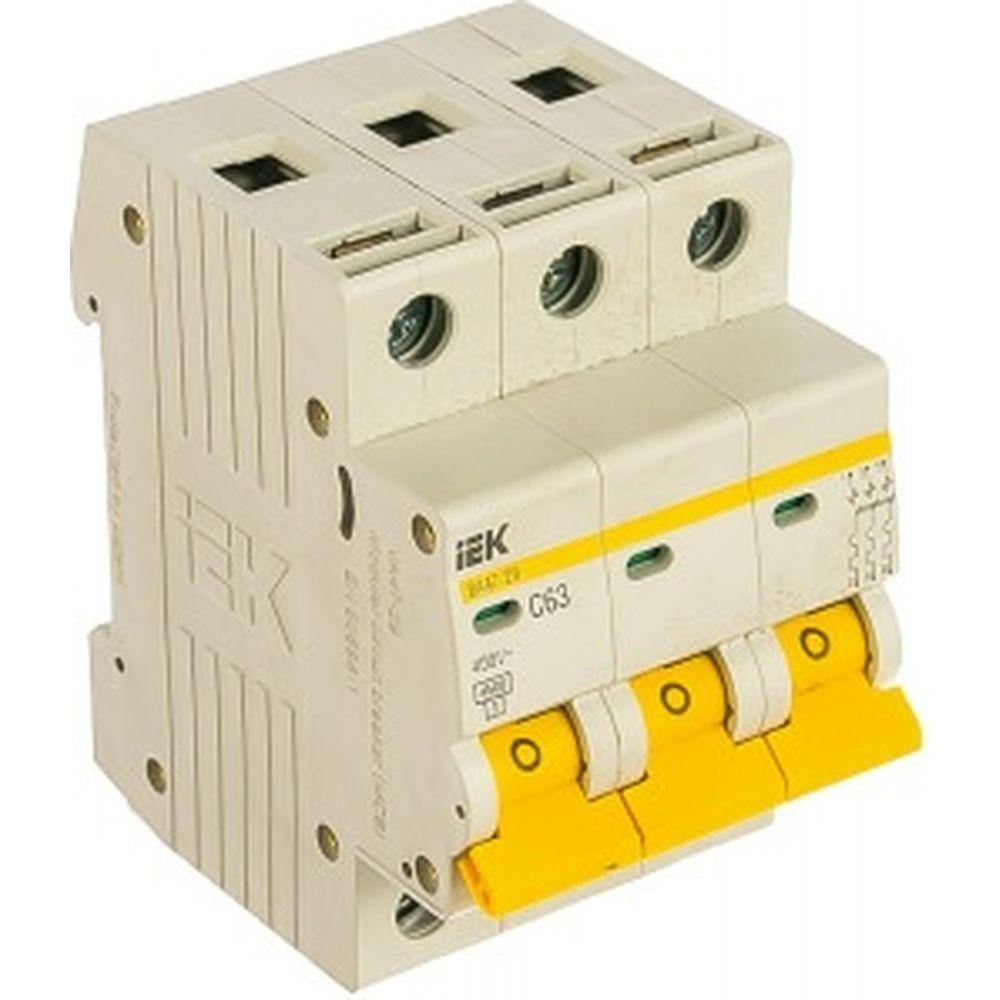 Автоматический 3-полюсный выключатель IEK 3п C 63А ВА 47-29 4.5кА MVA20-3-063-C