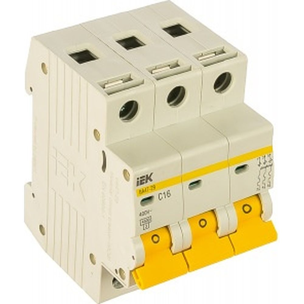 Автоматический 3-полюсный выключатель, 16А, С ВА47-29 4.5кА IEK MVA20-3-016-C