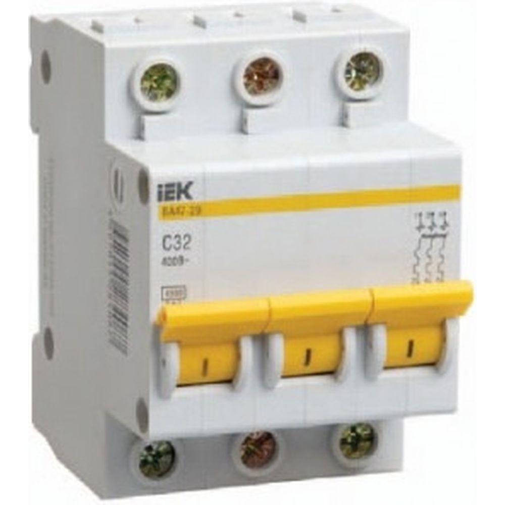 Автоматический 3-полюсный выключатель IEK ВА47-29 MVA20-3-025-C