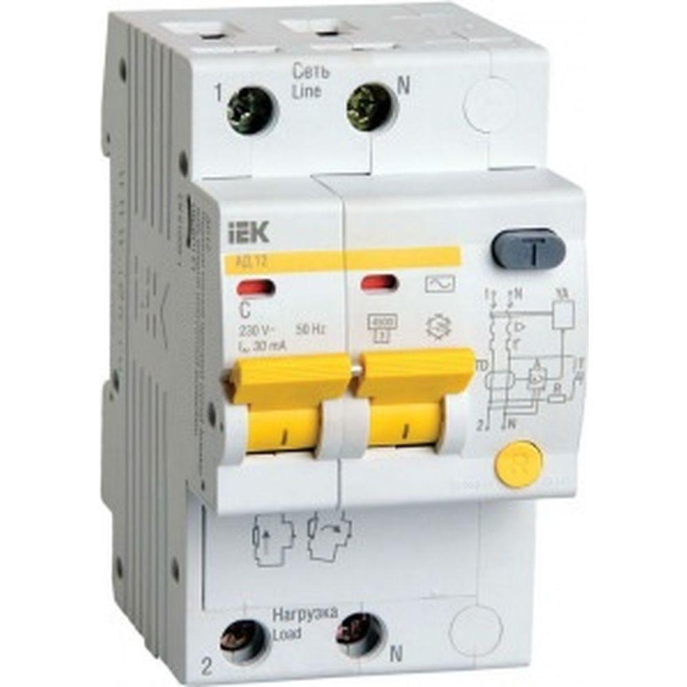 Дифференциальный автоматический выключатель 2п, 50А, 30мА, С АД-12 IEK MAD10-2-050-C-030